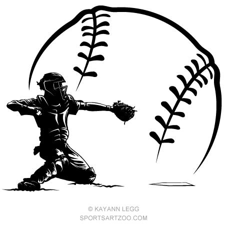 450x450 Baseball Catcher Silhouette In Ball Sportsartzoo