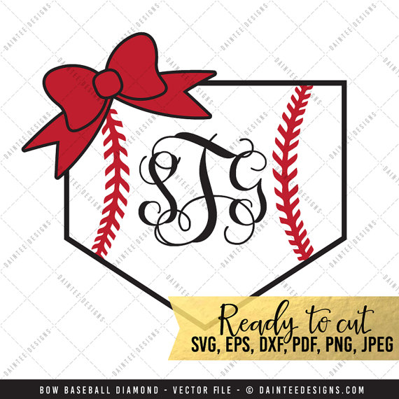 570x570 Bow Baseball Diamond Monogram