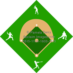 300x300 Art Image Of A Baseball Diamond With Players In Silhouette