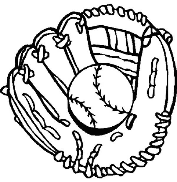 600x618 Baseball, Glove And Baseball Coloring Page Sports