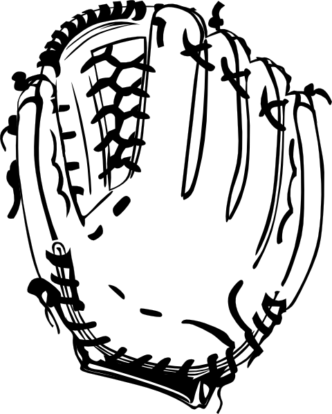 480x598 Baseball Glove (B And W) Clip Art