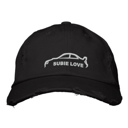 512x512 Subie Love White Silhouette Embroidered Baseball Hat