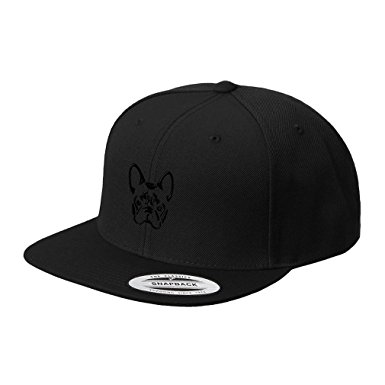 385x385 French Bulldog Silhouette Embroidered Flat Visor