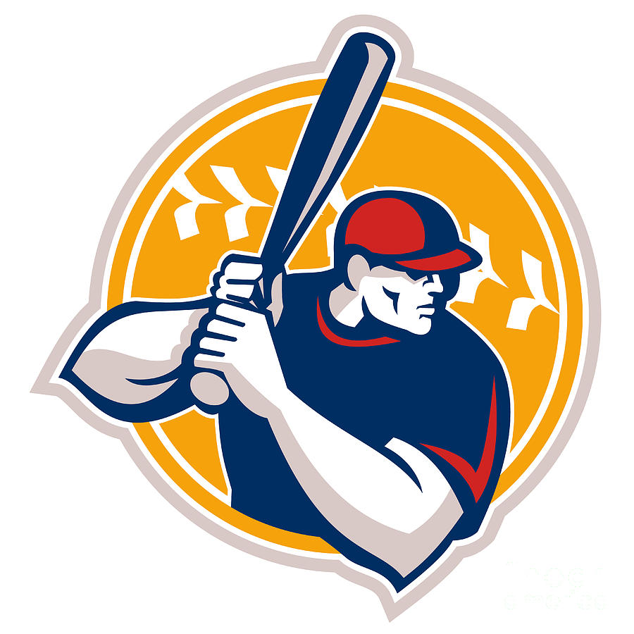 900x900 Baseball Batter Hitter Batting Side Retro Digital Art By Aloysius