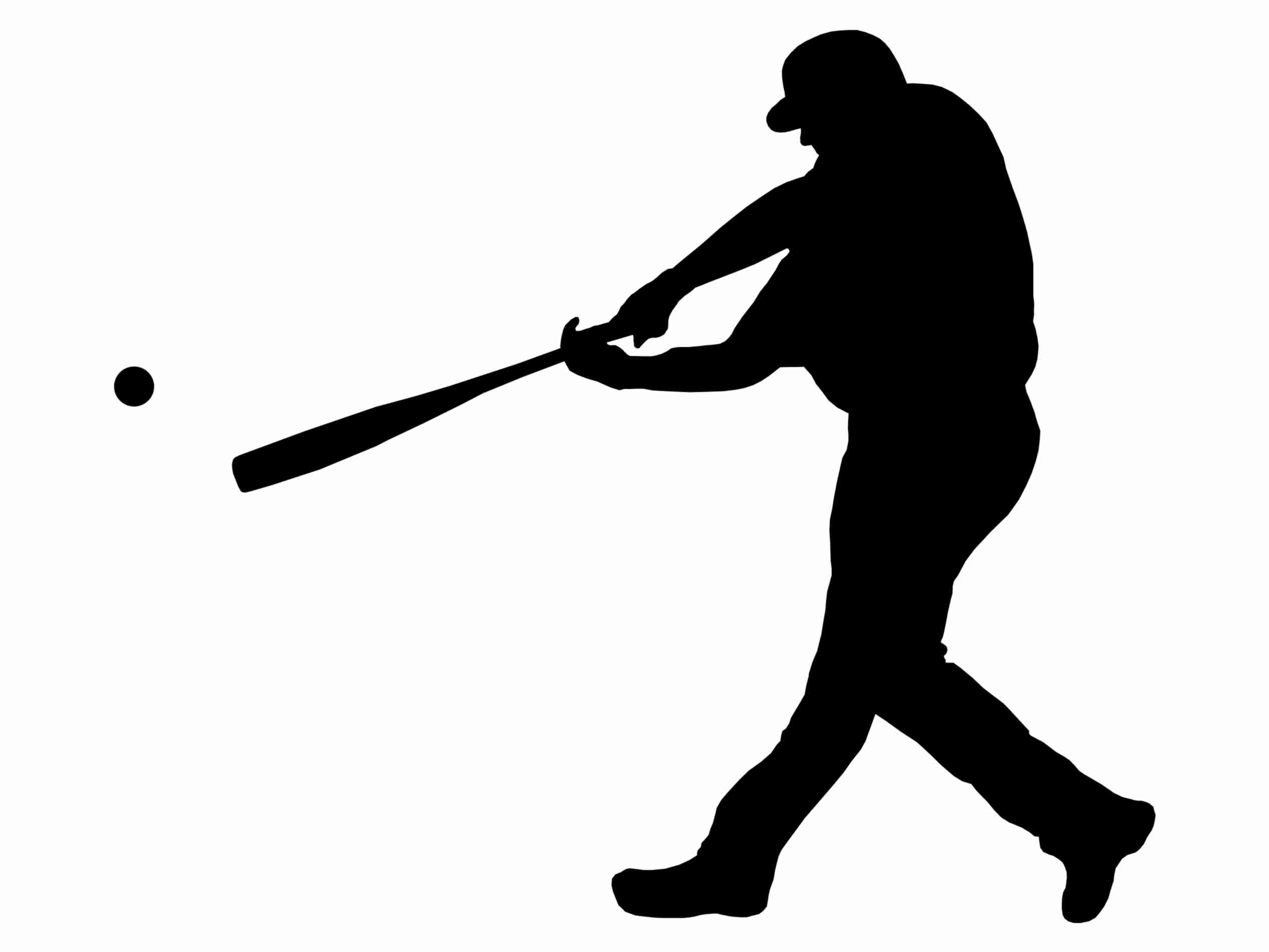 2536x1904 Baseball Player Batting Stance Righty Silhouette Custom Wall Fancy