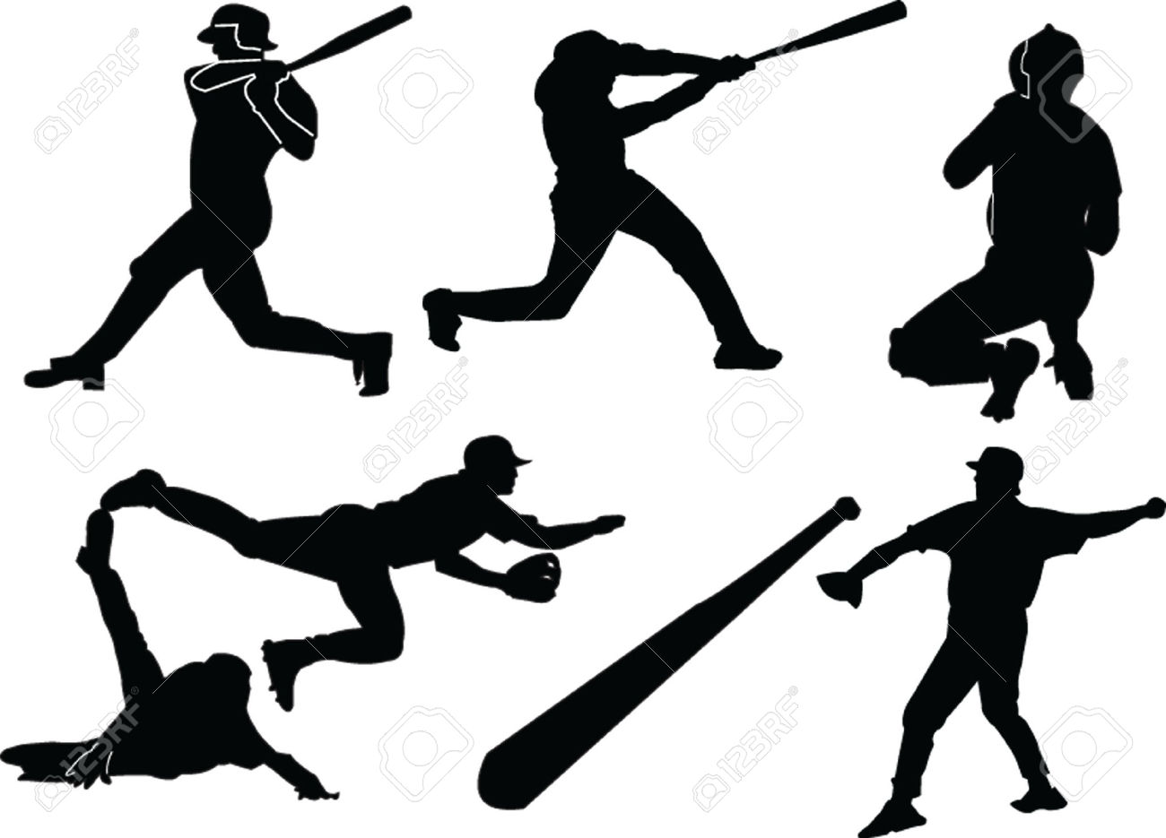 1300x935 Free Softball Player Silhouette Clipart