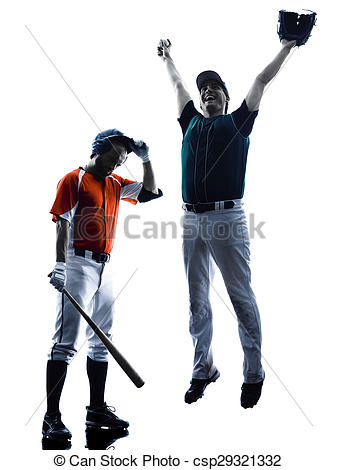 337x470 Men Baseball Players Silhouette Isolated. One Caucasian Men