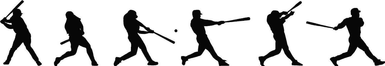 1500x257 Baseball Player Batting Sequence Silhouette Wall