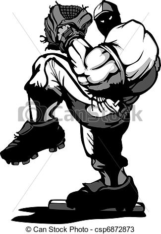 325x470 Baseball Player Pitcher Cartoon. Cartoon Silhouette