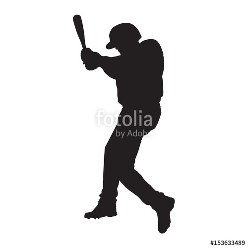 500x500 Baseball Player, Side View, Batter Vector Silhouette Stock Image