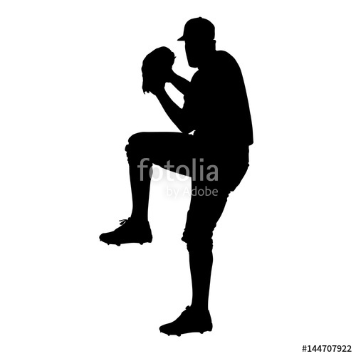 500x500 Pitcher, Baseball Player Vector Silhouette, Front View Stock