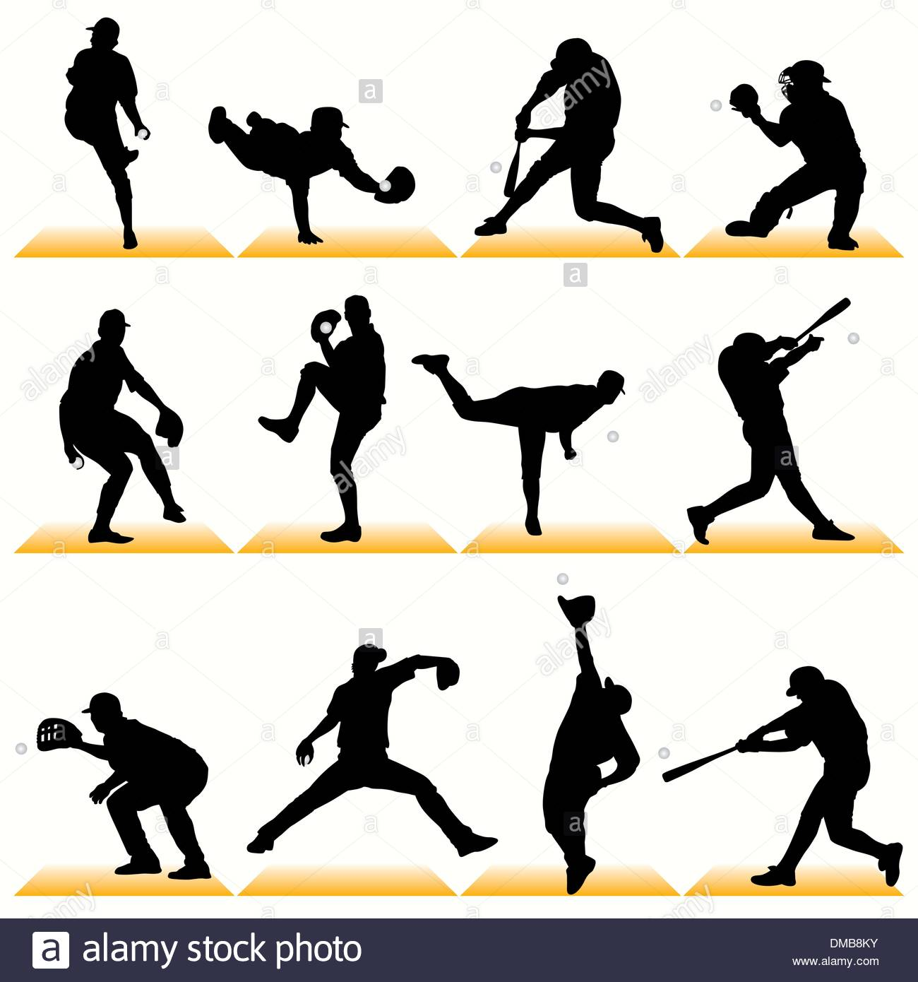 1300x1390 Baseball Players Set Silhouettes And Color Drawing Vector Art