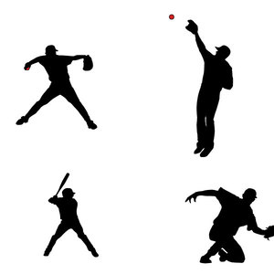 300x300 Baseball Players Silhouettes Vector