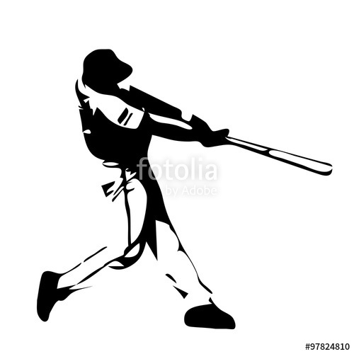 500x500 Baseball Player Swinging Bat. Vector Silhouette Stock Image