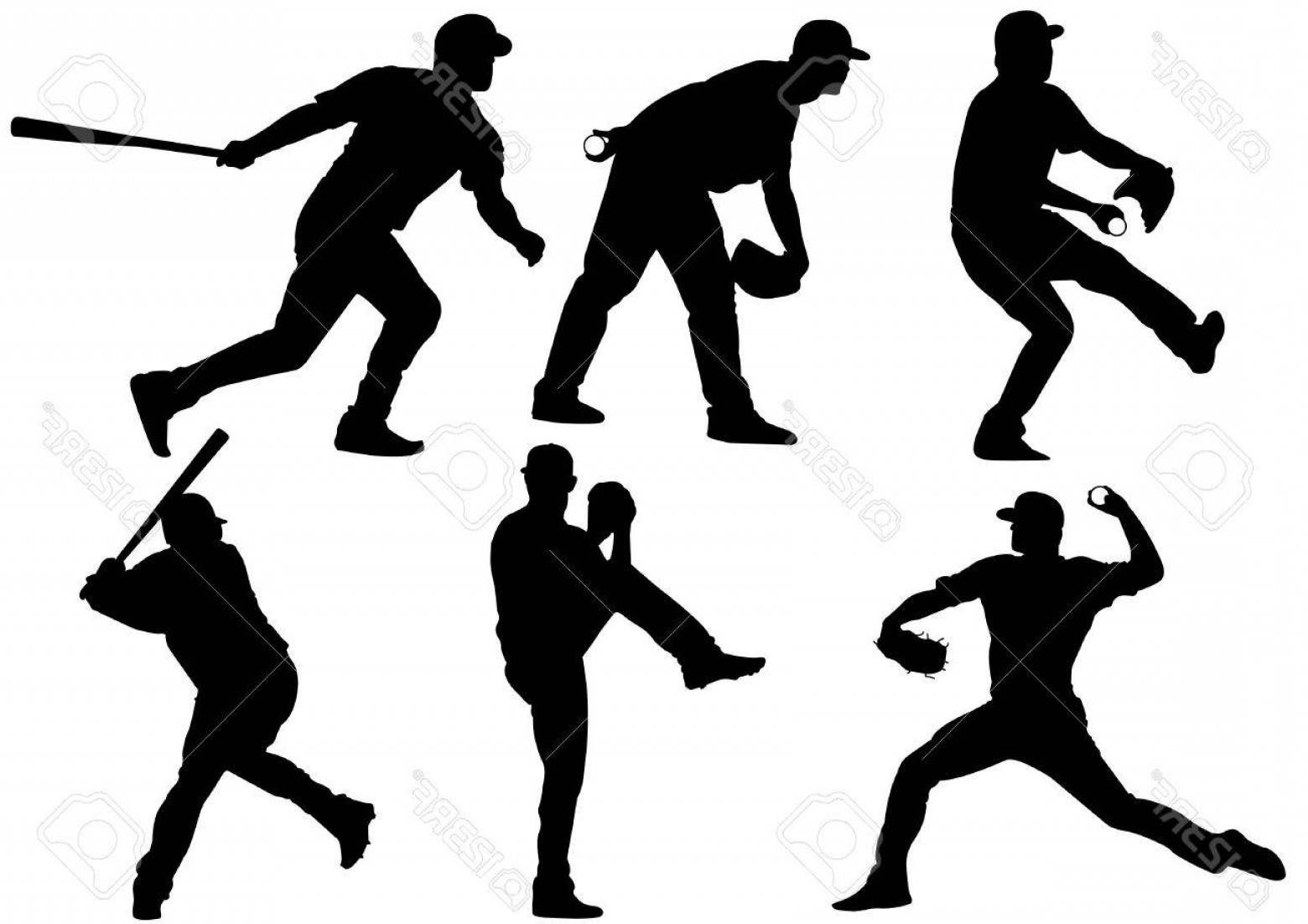 1560x1102 Photostock Vector Sport Icons And Baseball Players Silhouettes
