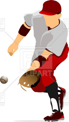 226x400 Silhouette Of Baseball Player Catching Ball Royalty Free Vector