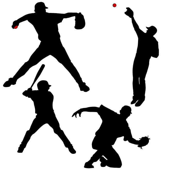 660x660 Baseball Players Vector Silhouettes
