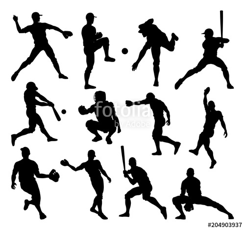 500x471 Baseball Player Silhouettes Stock Image And Royalty Free Vector
