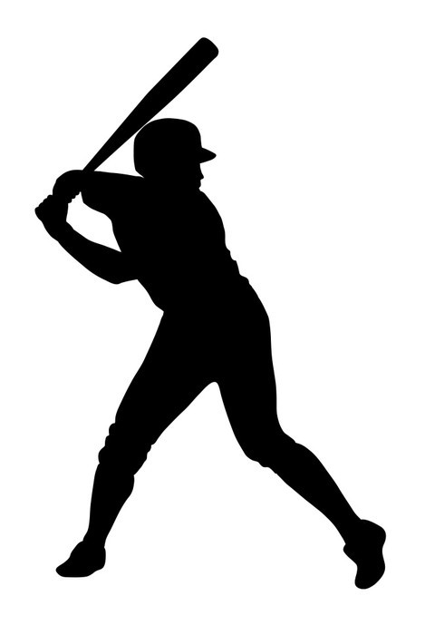 469x700 Black Silhouette Of Baseball Player Ready For Strike Wall Decal