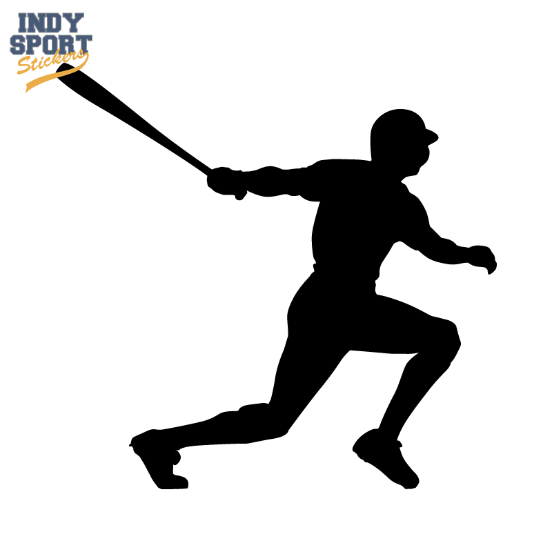800x800 Baseball Player With Bat Swinging Silhouette