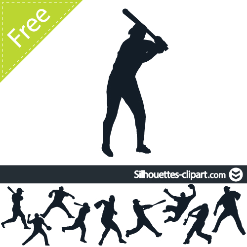 500x500 Baseball Players Vector Silhouette Silhouettes Clipart
