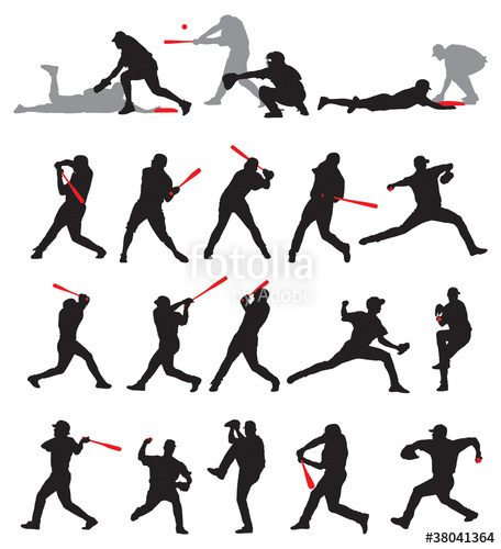 456x500 21 Detail Baseball Poses In Silhouette Stock Image And Royalty