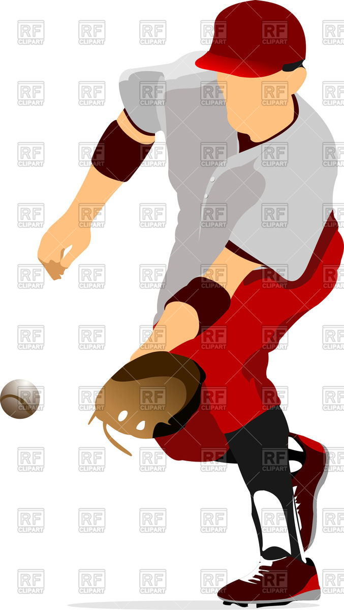 677x1200 Silhouette Of Baseball Player Catching Ball Royalty Free Vector