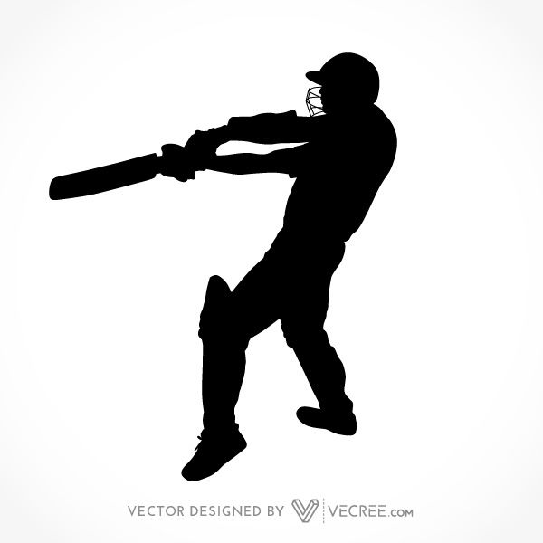600x600 Sport Silhouette Cricket Batsman Playing Cover Drive Free Vector