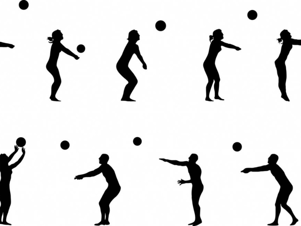 1024x768 Volleyball Player Hitting Silhouette Clipart Panda
