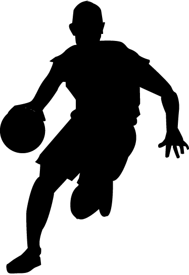374x544 Basketball Dribbling Silhouette Wall Sticker