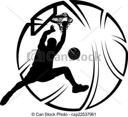 450x411 Basketball Dunk With Stylized Ball. Silhouette Of Baskeball