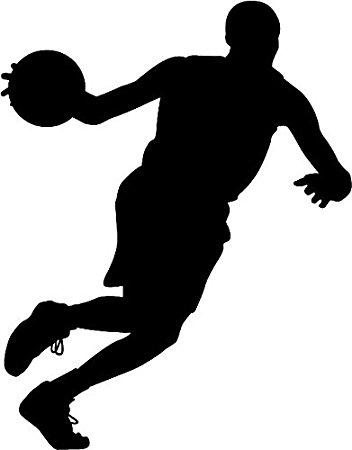 352x450 6 White Vinyl Basketball Player Running Silhouette