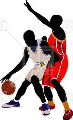 242x400 Silhouette Of Basketball Players In Motion Royalty Free Vector
