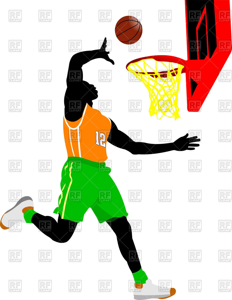 929x1200 Silhouette Of Basketball Player Scores A Goal Royalty Free Vector