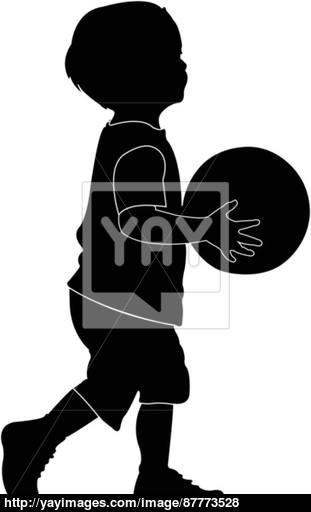 311x512 Child Playing Basketball, Child And Ball, Silhouette Vector Vector