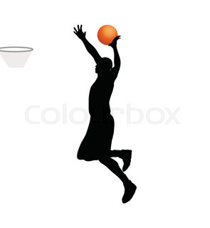 295x320 Basketball Players Silhouettes, Vector Illustration Stock Vector