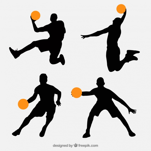 626x626 Pack Of Basketball Players Silhouettes Vector Free Download