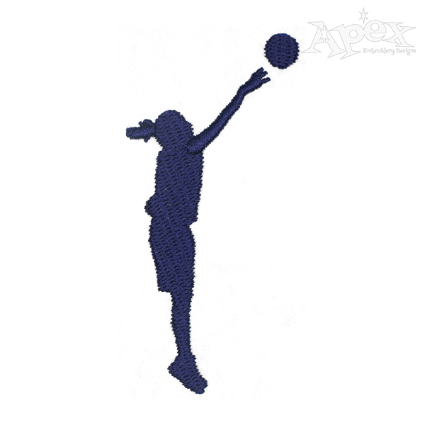 600x600 Basketball Girl Silhouette Embroidery Design
