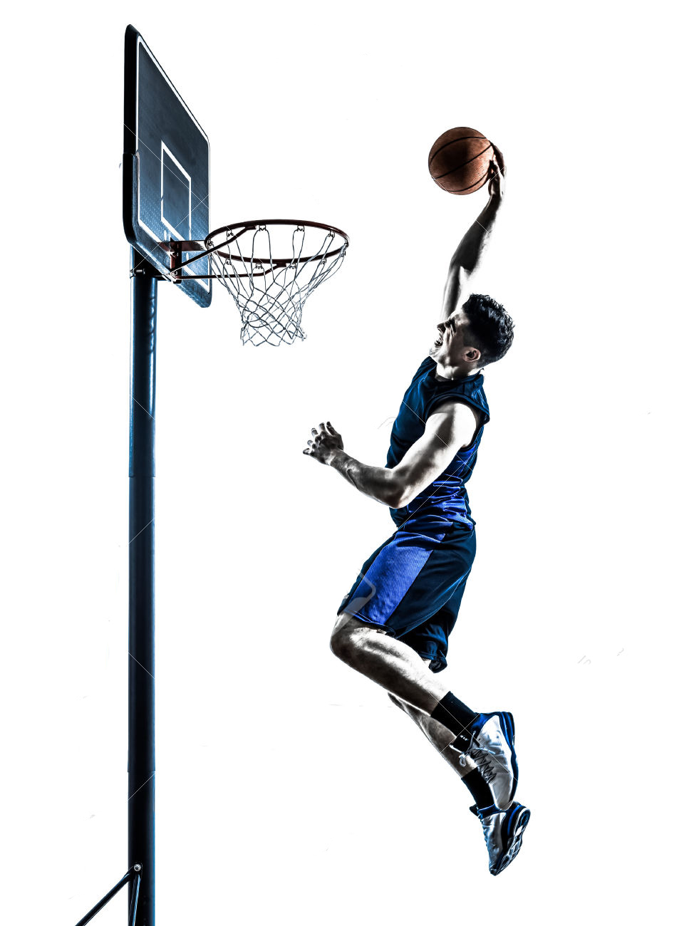 974x1300 38189634 One Man Basketball Player Jumping Dunking In Silhouette