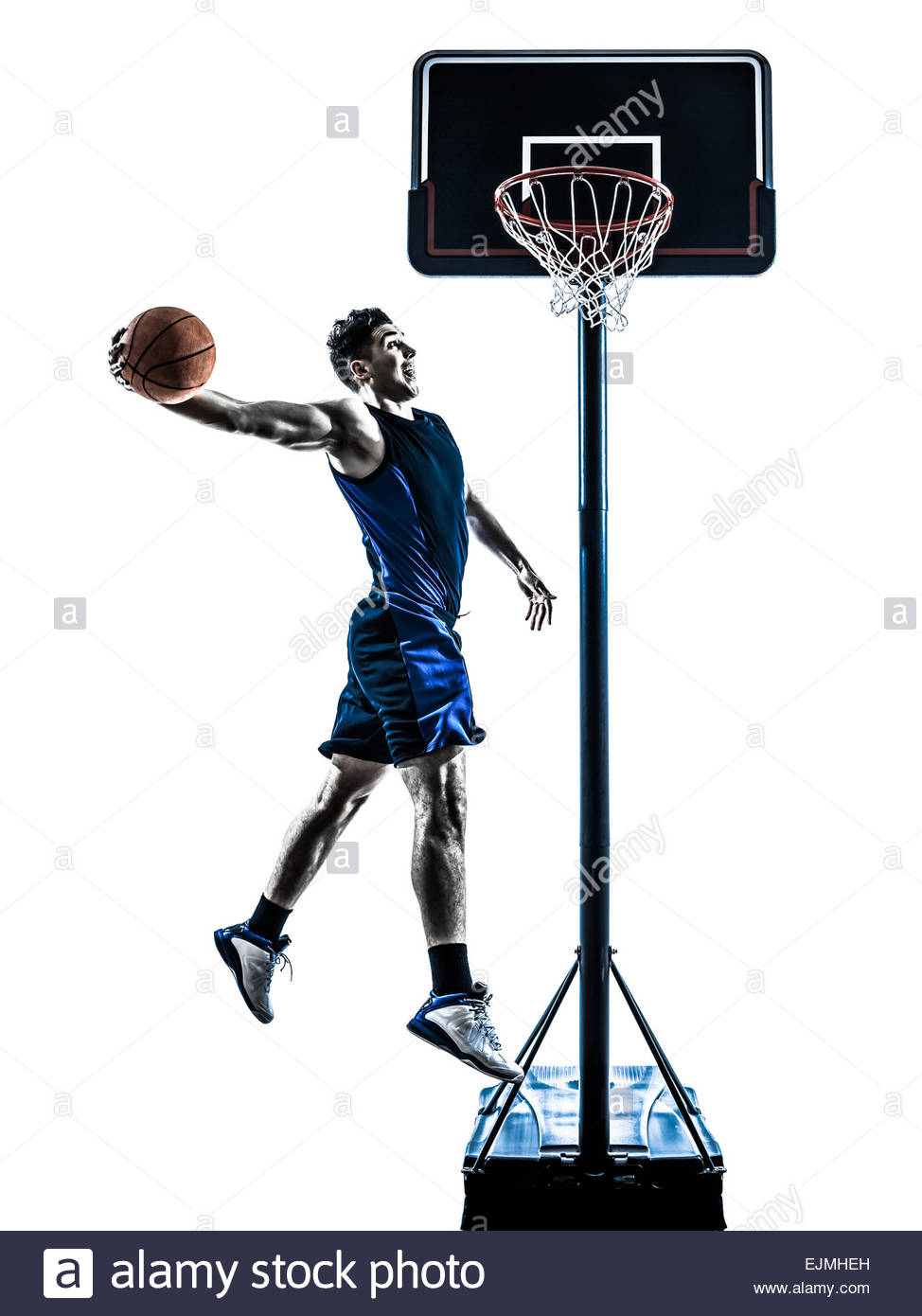 974x1390 One Man Basketball Player Jumping Dunking In Silhouette Isolated