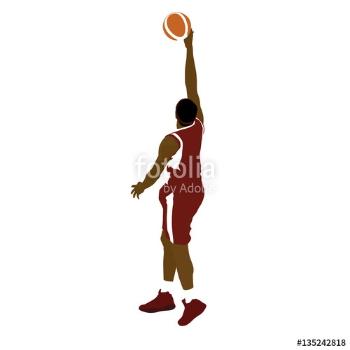 500x500 Basketball Player With Ball, Finger Roll Shot. Abstract Vector S