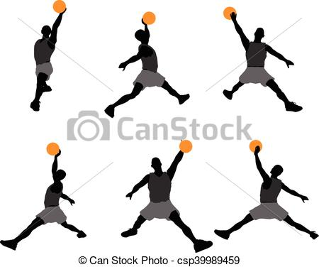 450x376 Eps 10 Vector Illustration Of Basketball Player Silhouette Clipart