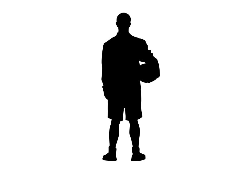 800x566 Player Holding Ball Vector Silhouette