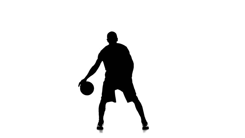 852x480 Basketball Player In Sports Uniform Stuffing The Ball. Silhouette