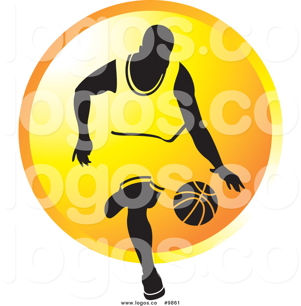 1024x1044 Royalty Free Clip Art Vector Logo Of A Basketball Player Dribbling