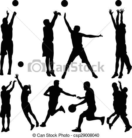 450x470 Basketball Player Silhouette Vector. Basketball Player Eps Vector