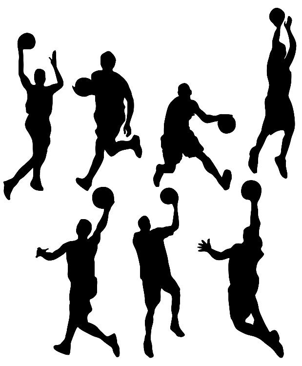 619x750 Basketball Action Basketball Player Silhouettes Template, Stencil