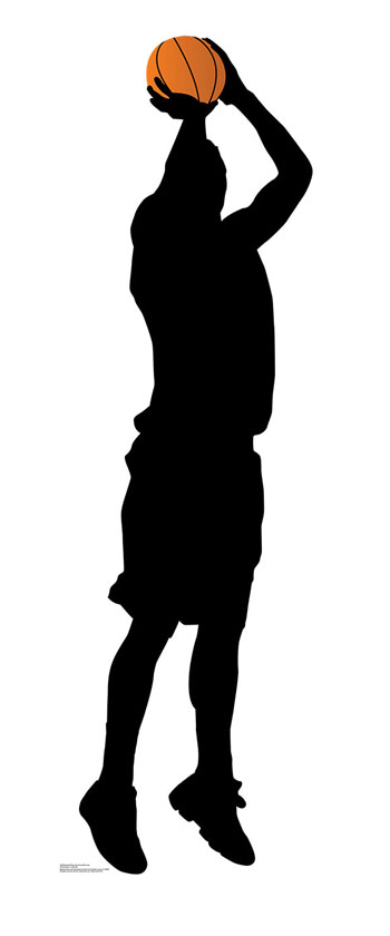 350x840 Basketball Player Shooting Silhouette Cardboard Cutout Standup