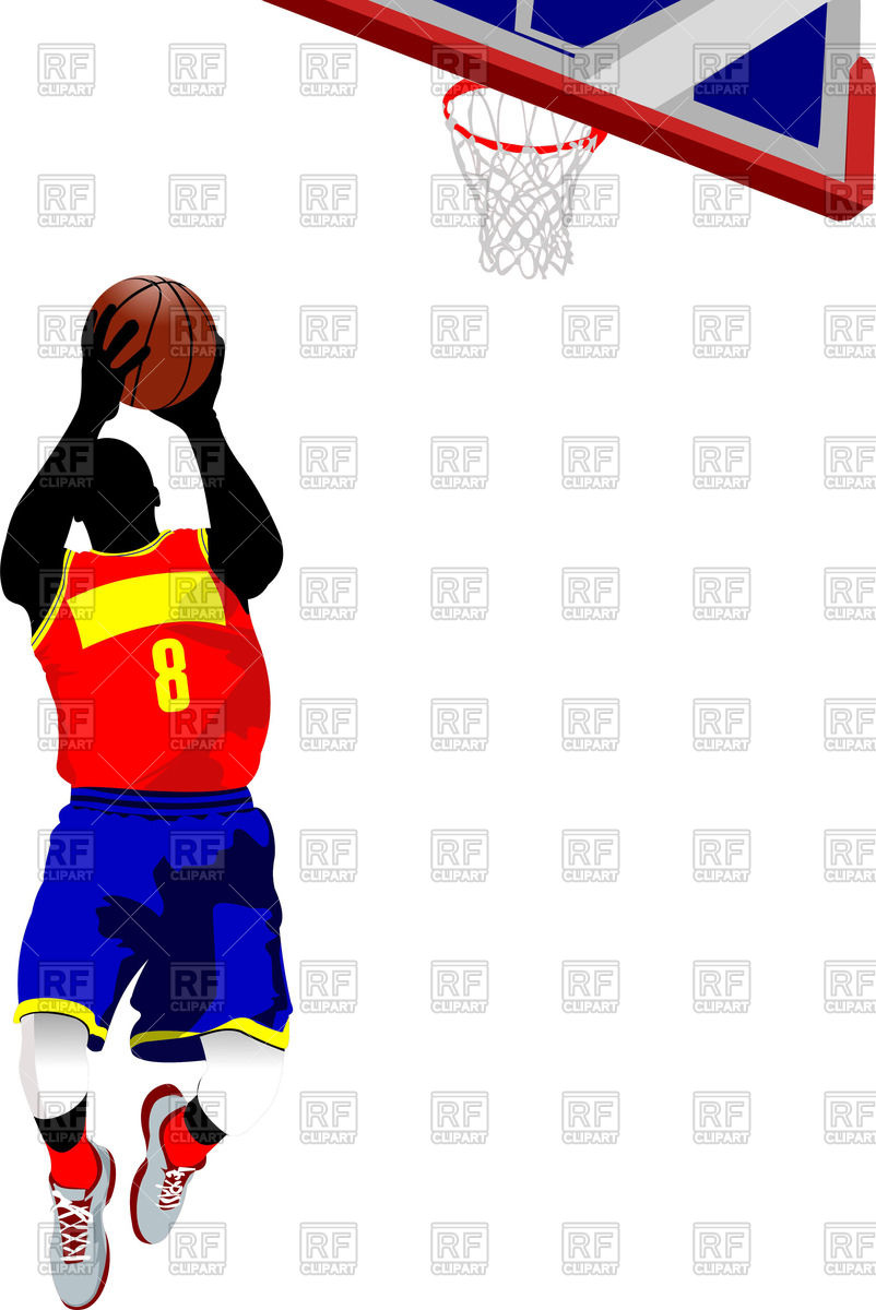 802x1200 Silhouette Of Basketball Player Jumping With Ball To A Basket