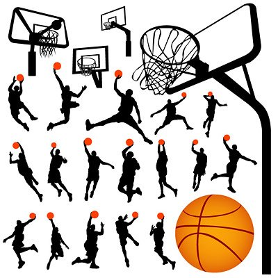 400x400 Basketball And Basketball Silhouette Figures, Clip Art